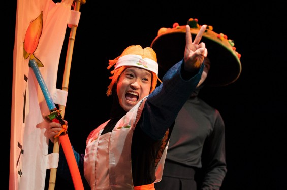 Front: Jacob Yeh as Momotaro (Ryan Sellers as Koken in the background). Anime Momotaro at Imagination Stage now through March 10. Photo credit: Margot Schulman.