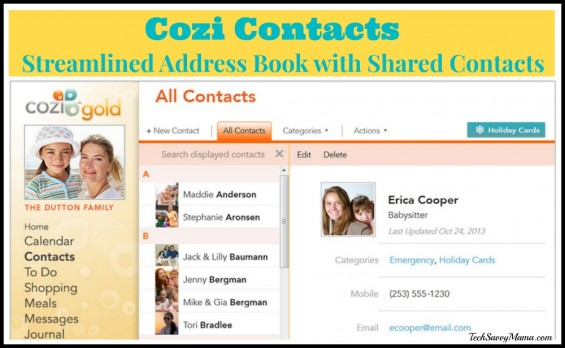 Cozi Contacts Designed to Streamline Your Address Book Through Shared Contacts I TechSavvyMama.com