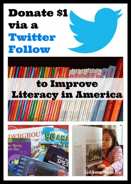Donate $1 via a Twitter Follow to Improve Literacy in America