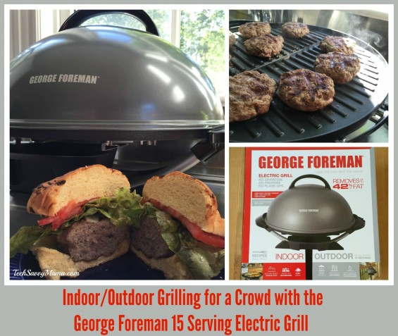 Indoor/Outdoor Grilling for a Crowd with the George Foreman 15 Serving Electric Grill. Read about Leticia's first Foreman Grill experience on TechSavvyMama.com