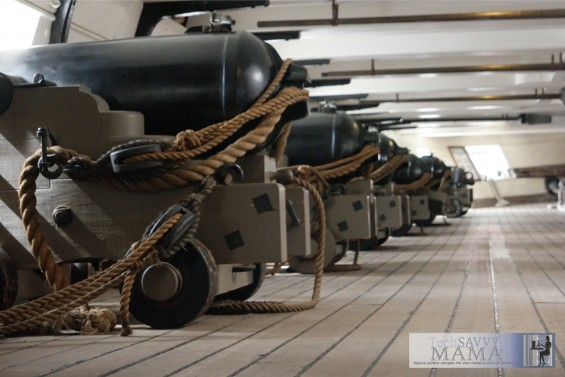 Cannons on the USS Constellation in Baltimore. Details on how we got a discount admission on the Historic Ships in Baltimore from Living Social on TechSavvyMama.com. Image copyright @TechSavvyMama.com 2015 All Rights Reserved