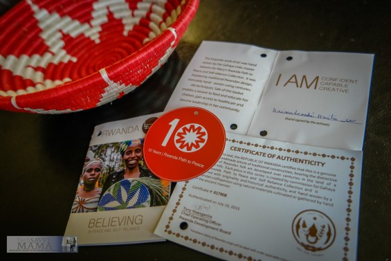 Macy's Rwanda Path to Peace 10th anniversary red and white commemorative basket