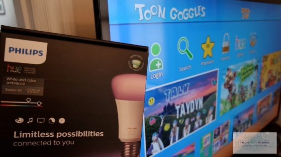How Philips Hue Smart Bulbs Change Colors as Kids Watch Toon Goggles Content on TechSavvyMama.com